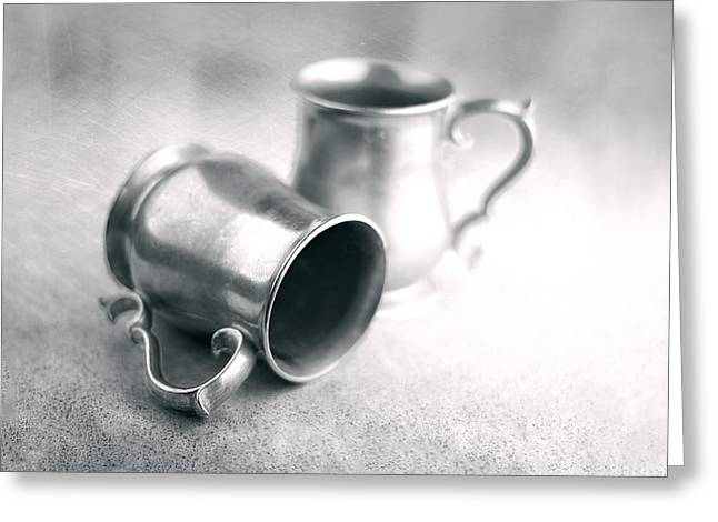 Kitchen Utensils Greeting Cards - Pewter Tankards Still Life Greeting Card by Tom Mc Nemar