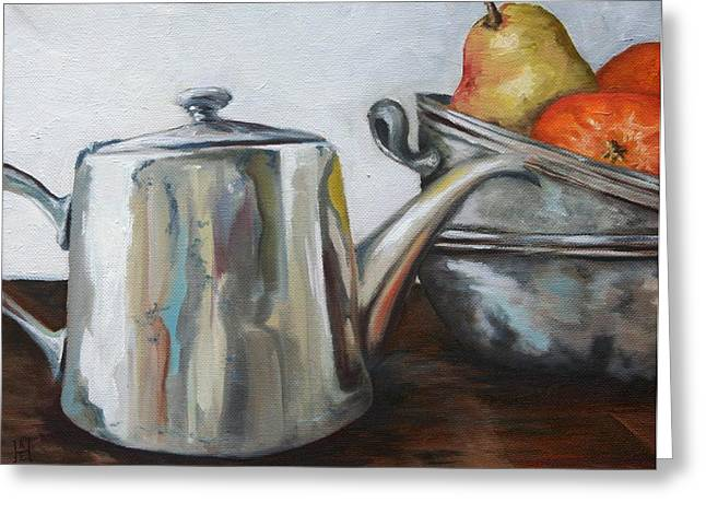 Pewter Teapot And Bowls Greeting Card by Amy Higgins