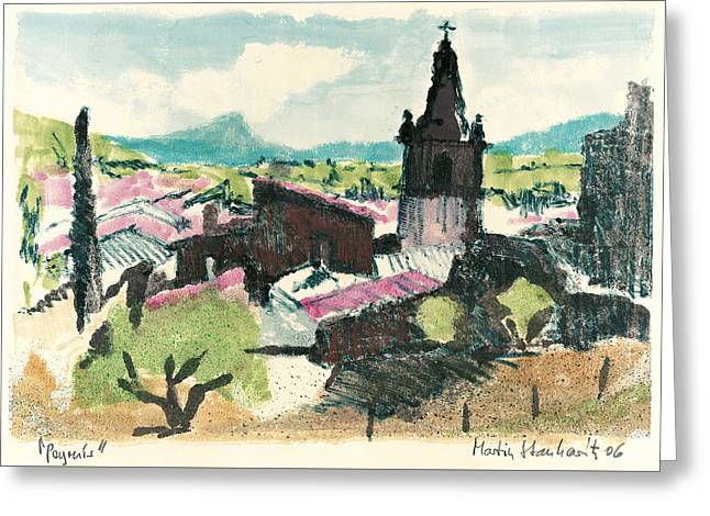 Greeting Card featuring the painting Peyruis Village In Provence by Martin Stankewitz