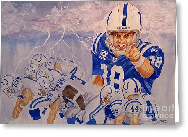 Peyton Manning - Perfect Storm Greeting Card by George  Brooks