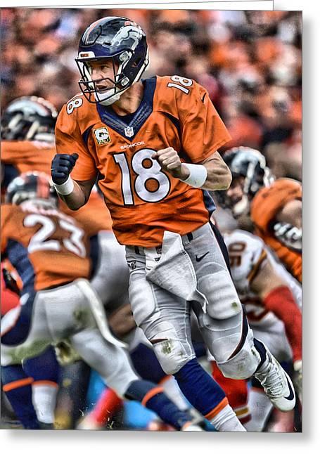 Peyton Manning Art 2 Greeting Card by Joe Hamilton