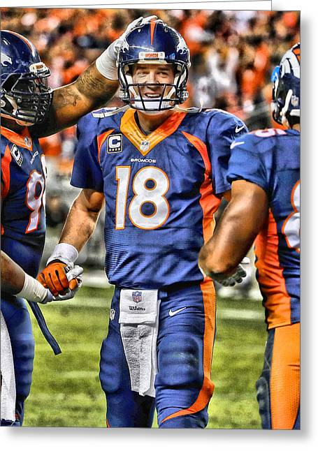 Peyton Manning Art 3 Greeting Card by Joe Hamilton