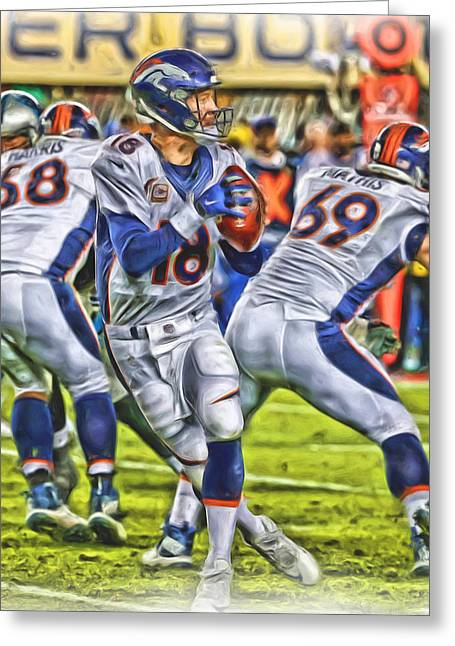 Peyton Manning Broncos Oil Art Greeting Card by Joe Hamilton