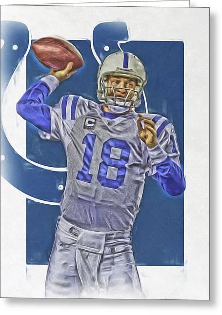Peyton Manning Indianapolis Colts Oil Art Greeting Card by Joe Hamilton