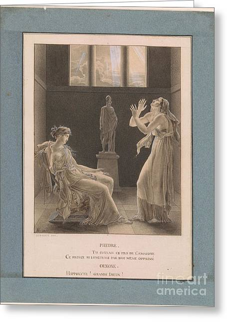 Phaedra Confesses Her Love For Hippolytus To Oenone Greeting Card by Celestial Images