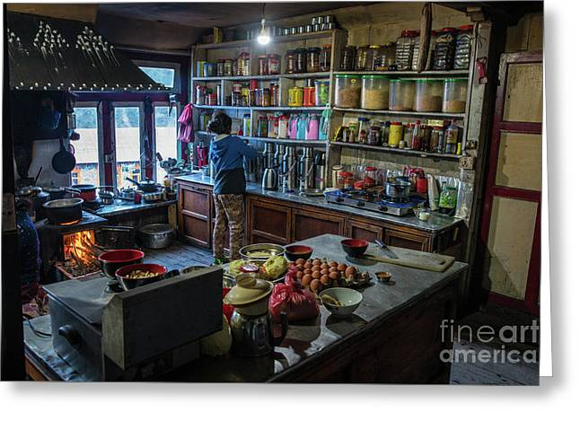 Greeting Card featuring the photograph Phakding Teahouse Kitchen Morning by Mike Reid