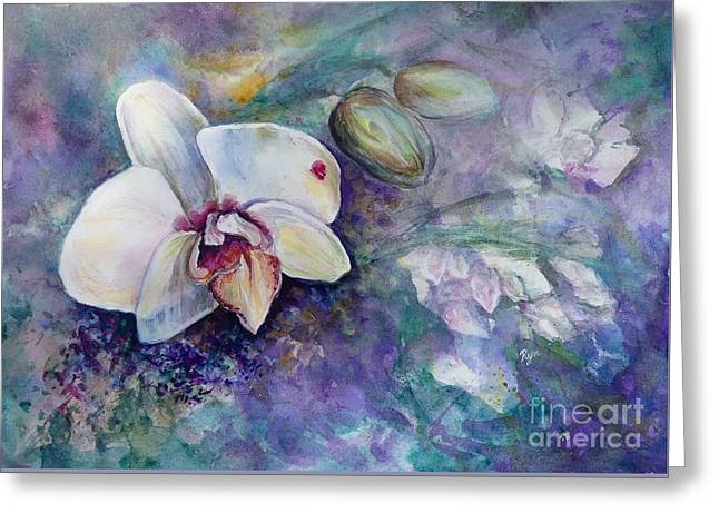 Phalaenopsis Orchid With Hyacinth Background Greeting Card