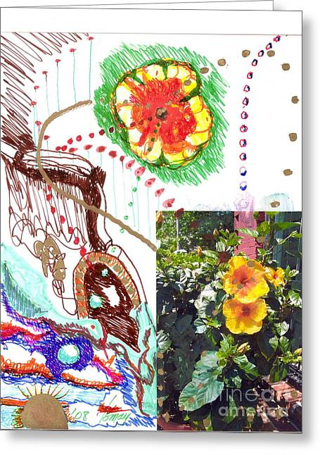 Phantasy On Yellow Hibiscus Greeting Card by Rod Ismay