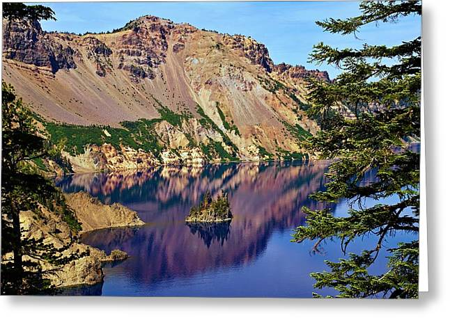 Phantom Ship In Crater Lake Greeting Card by Michael Courtney
