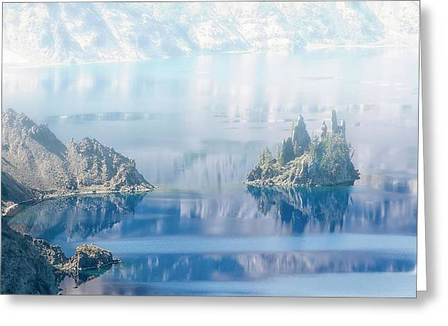 Phantom Ship Island In Mist At Crater Lake Greeting Card by Frank Wilson
