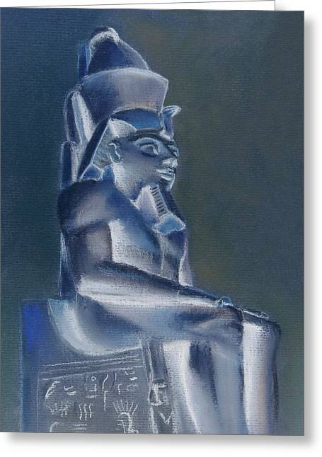 Greeting Card featuring the mixed media Pharaoh In Blue by Elizabeth Lock