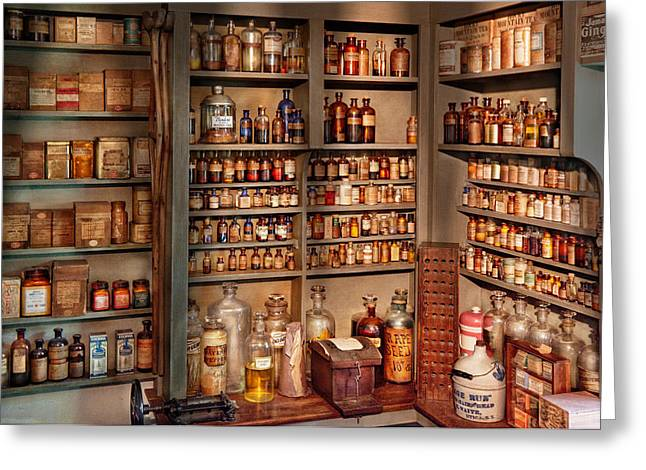 Pharmacy - Get Me That Bottle On The Second Shelf Greeting Card by Mike Savad