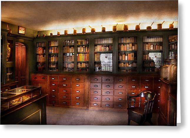 Pharmacy - The Apothecary Shop Greeting Card by Mike Savad