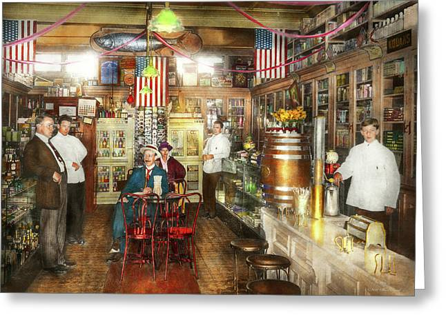 Pharmacy - Collins Pharmacy 1915 Greeting Card by Mike Savad