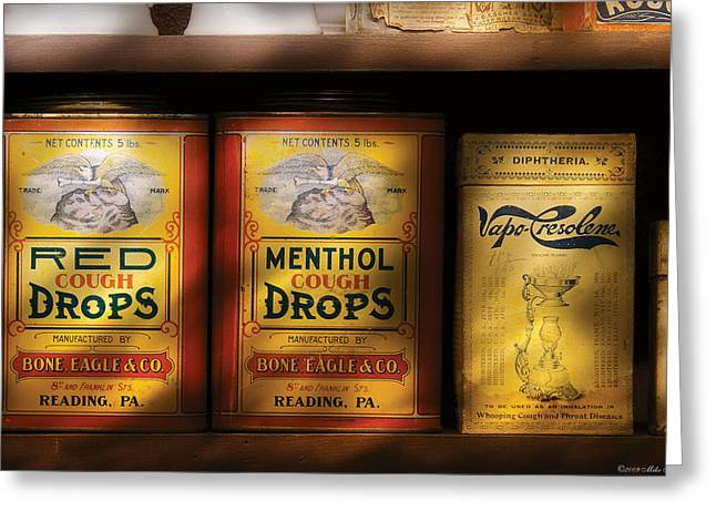 Pharmacy - Cough Drops Greeting Card by Mike Savad