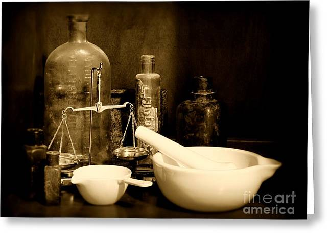 Pharmacy - Mortar And Pestle - Black And White Greeting Card by Paul Ward
