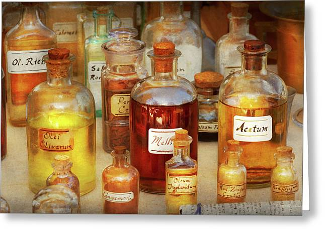 Greeting Card featuring the photograph Pharmacy - Serums And Elixirs by Mike Savad