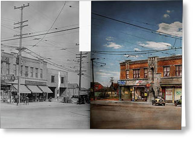 Greeting Card featuring the photograph Pharmacy - The Corner Drugstore 1910 - Side By Side by Mike Savad