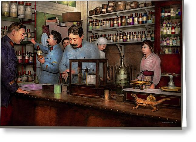 Greeting Card featuring the photograph Pharmacy - The Dispensing Chemist 1918 by Mike Savad