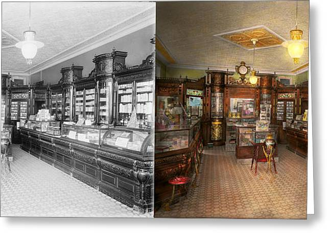 Pharmacy - Weller's Pharmacy 1915 Side By Side Greeting Card