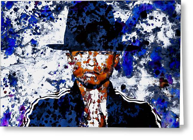 Pharrell Williams 3c Greeting Card by Brian Reaves