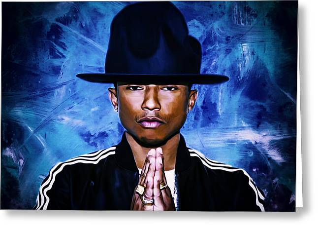 Pharrell Williams Happy II Greeting Card by Brian Reaves