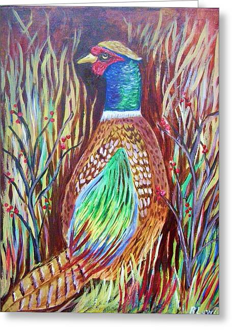 Greeting Card featuring the painting Pheasant In Sage by Belinda Lawson