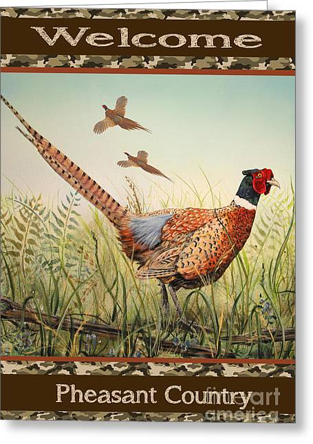 Pheasant-jp2805 Greeting Card by Jean Plout