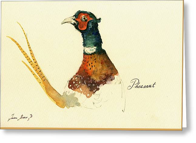 Pheasant Painting Greeting Card by Juan  Bosco