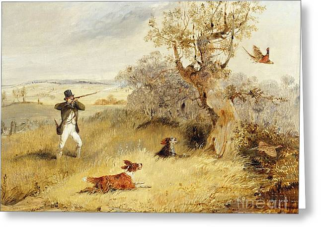 Hillsides Greeting Cards - Pheasant Shooting Greeting Card by Henry Thomas Alken