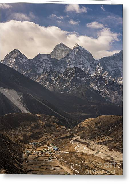 Greeting Card featuring the photograph Pheriche In The Valley by Mike Reid