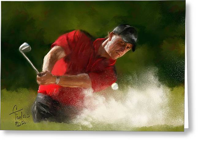 Phil Mickelson - Lefty In Action Greeting Card by Colleen Taylor