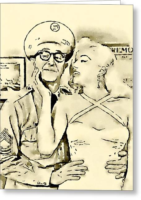 Phil Silvers With Diana Dors Sargent Bilko Greeting Card