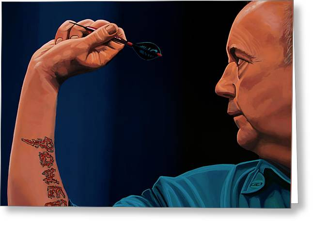 Phil Taylor The Power Greeting Card by Paul Meijering
