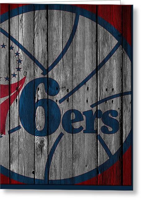 Philadelphia 76ers Wood Fence Greeting Card
