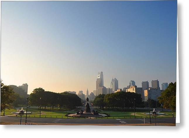 Philadelphia Across Eakins Oval Greeting Card by Bill Cannon