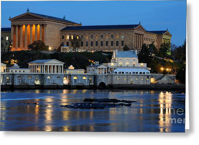 Philadelphia Art Museum And Fairmount Water Works Greeting Card