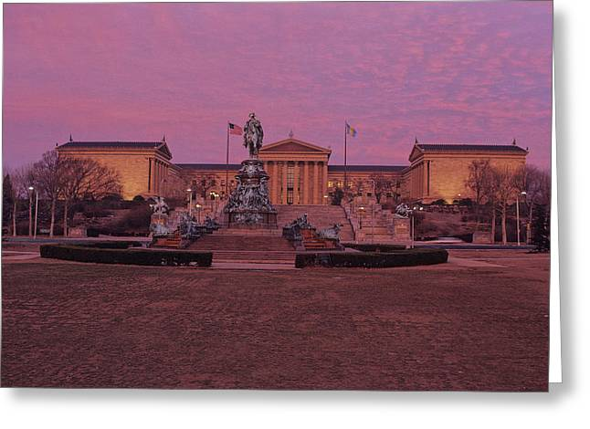 Philadelphia Art Museum At Dusk Greeting Card by Kenneth Garrett