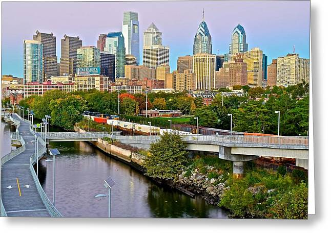 Philadelphia At Dusk Greeting Card by Frozen in Time Fine Art Photography