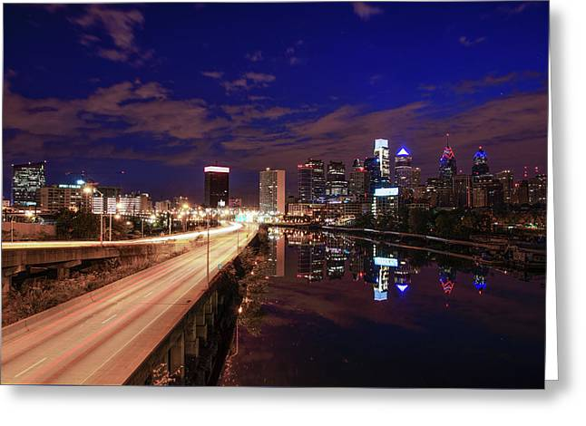 Philadelphia At Night Cityscape From South Street Greeting Card