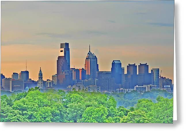 Center City Greeting Cards - Philadelphia at Sunrise Greeting Card by Bill Cannon