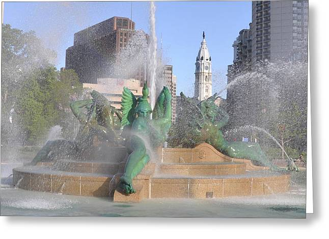 Philadelphia - At Swann Fountain Greeting Card