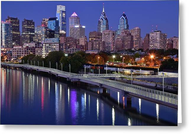 Philadelphia Blue Hour Greeting Card by Frozen in Time Fine Art Photography
