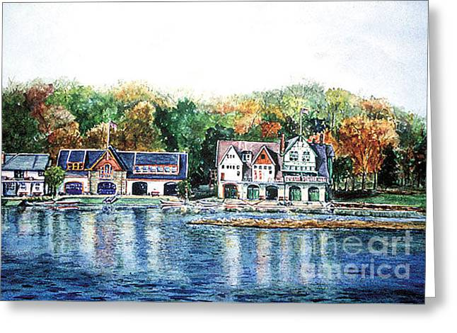 Philadelphia Boathouse Row Greeting Card by Joyce A Guariglia