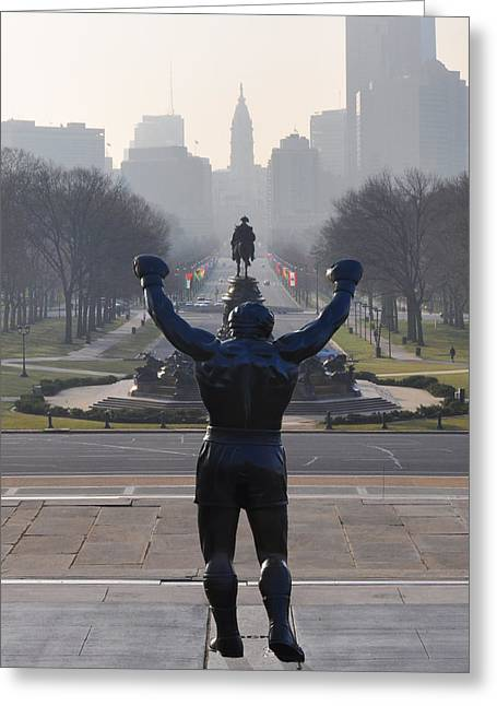 Parkway Digital Greeting Cards - Philadelphia Champion - Rocky Greeting Card by Bill Cannon