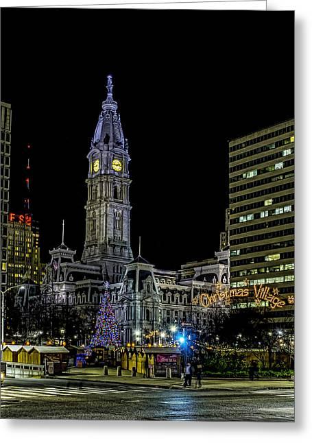 Philadelphia City Hall And Christmas Village Greeting Card by Nick Zelinsky