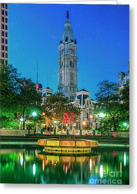 Philadelphia City Hall Lit At Night Beautiful Greeting Card