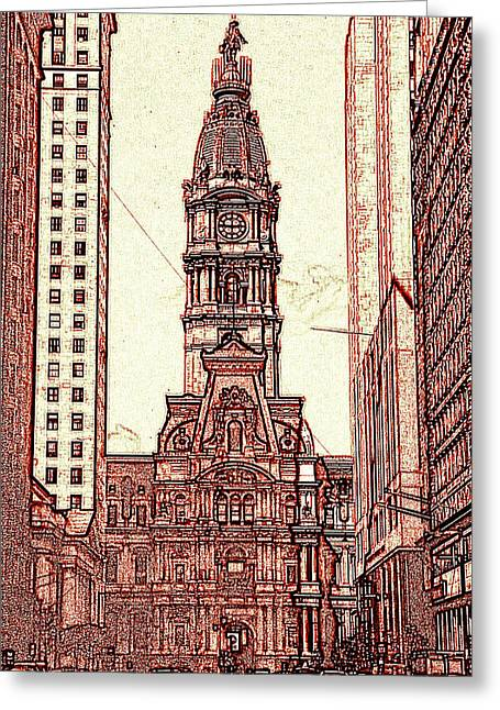 Philadelphia City Hall - Pencil Greeting Card by Art America Gallery Peter Potter