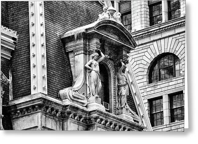 Greeting Card featuring the photograph Philadelphia City Hall Window In Black And White by Bill Cannon