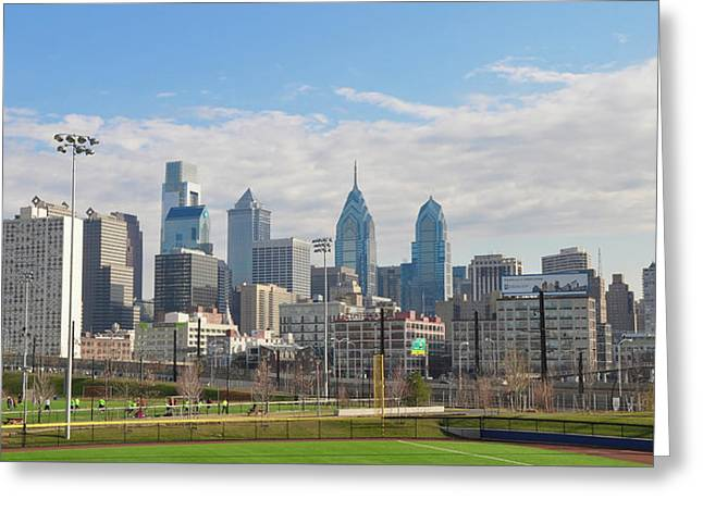 Philadelphia City Scape From Upenn Greeting Card by Bill Cannon